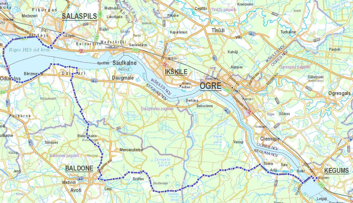 Karte Ķegums Salaspils